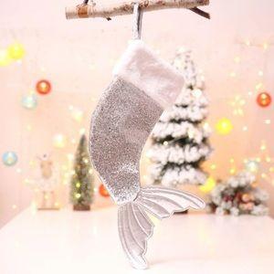 Mermaid Tail Christmas Stocking - Silver